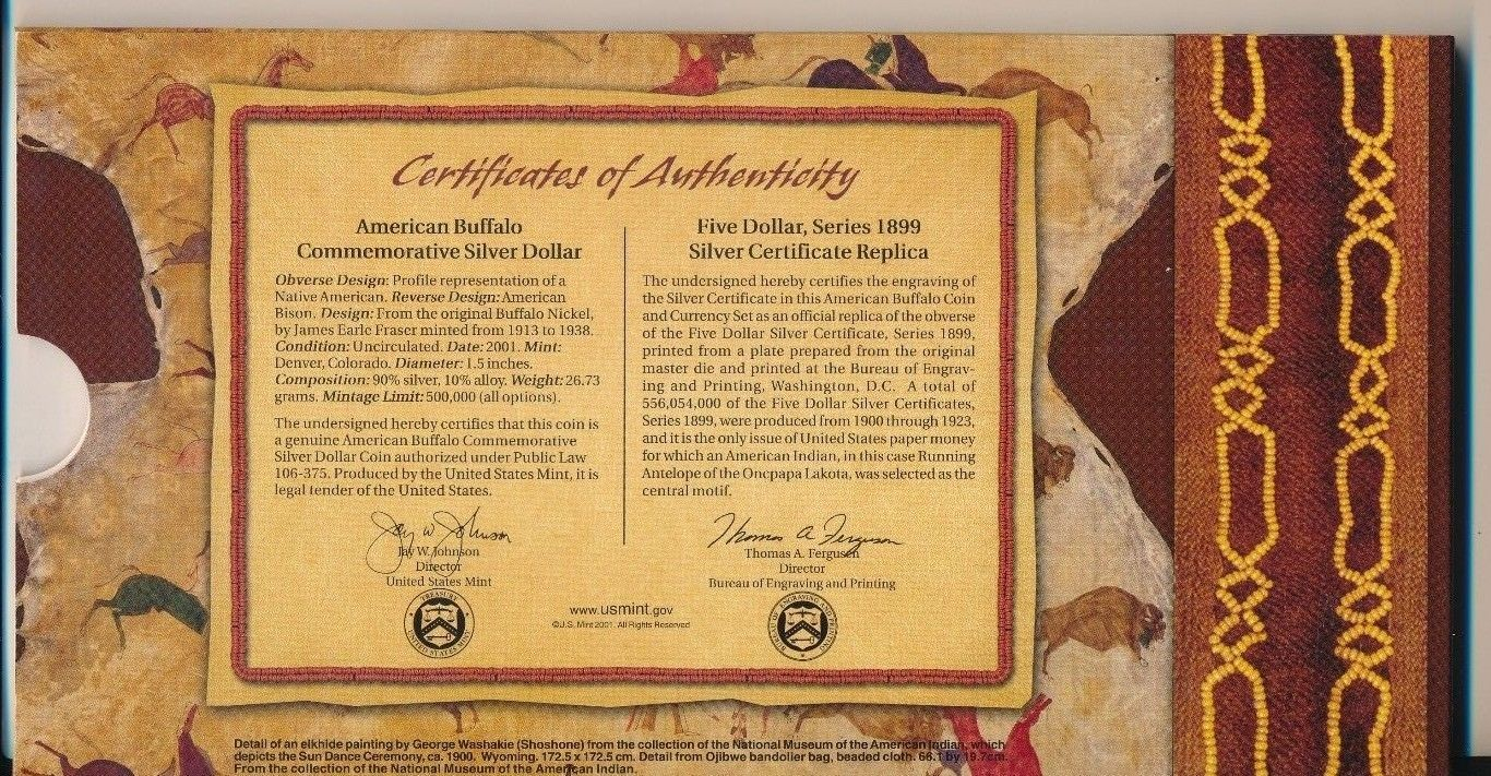 AMERICAN BUFFALO COIN & CURRENCY SET/2001 SILVER/$5 NOTE/BOX/COA-SHIPS FREE!