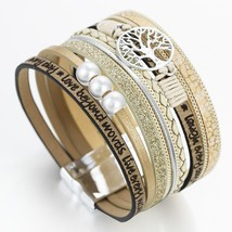 Amorcome Tree of Life Charm Leather Bracelets for Women Fashion 2020 Multilayer  - $12.57
