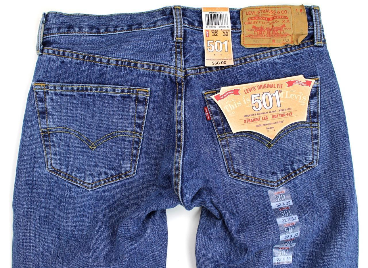 NEW NWT LEVI'S 501 MEN'S ORIGINAL FIT STRAIGHT LEG JEANS BUTTON FLY 501-0193