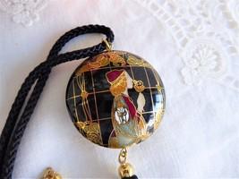 Black Cloisonne Necklace Art Nouveau Silk Cord Vintage 1970s Double Side... - $48.00