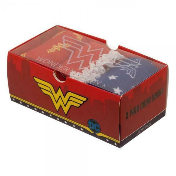 Wonder Woman 3 Pack Crew Set Socks For Women