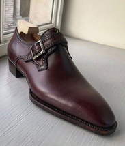Handmade Men's Brown Dress/Formal Monk Strap Leather Shoes image 4