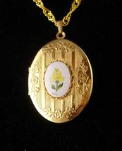 Vintage Sweetheart Locket / Yellow enamel flower / gold romantic gift / New mom  - $75.00