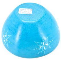 Tabaka Chigware Handmade Soapstone Blue Flower & Star Design Trinket Bowl Kenya image 3