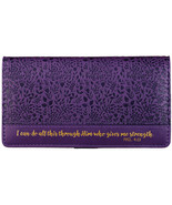 """Checkbook Cover Purple """"I Can Do All This Through Him"""" Phil. 4:13 Brand NEW - $13.53"""