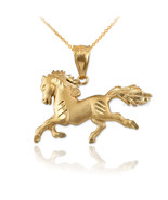 10K Yellow Gold Galloping Horse Satin DC Charm Necklace - $99.99+
