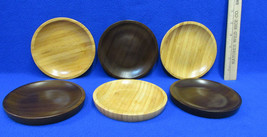 3 Wood Soap Dish Round Tray Plate Trinket Bowl Coaster Umbra Tan Dark Br... - $9.49
