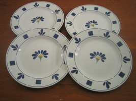 Oneida Kitchen Spring Daisy 4 Salad Plates Blue White Floral Dinnerware ... - $28.42