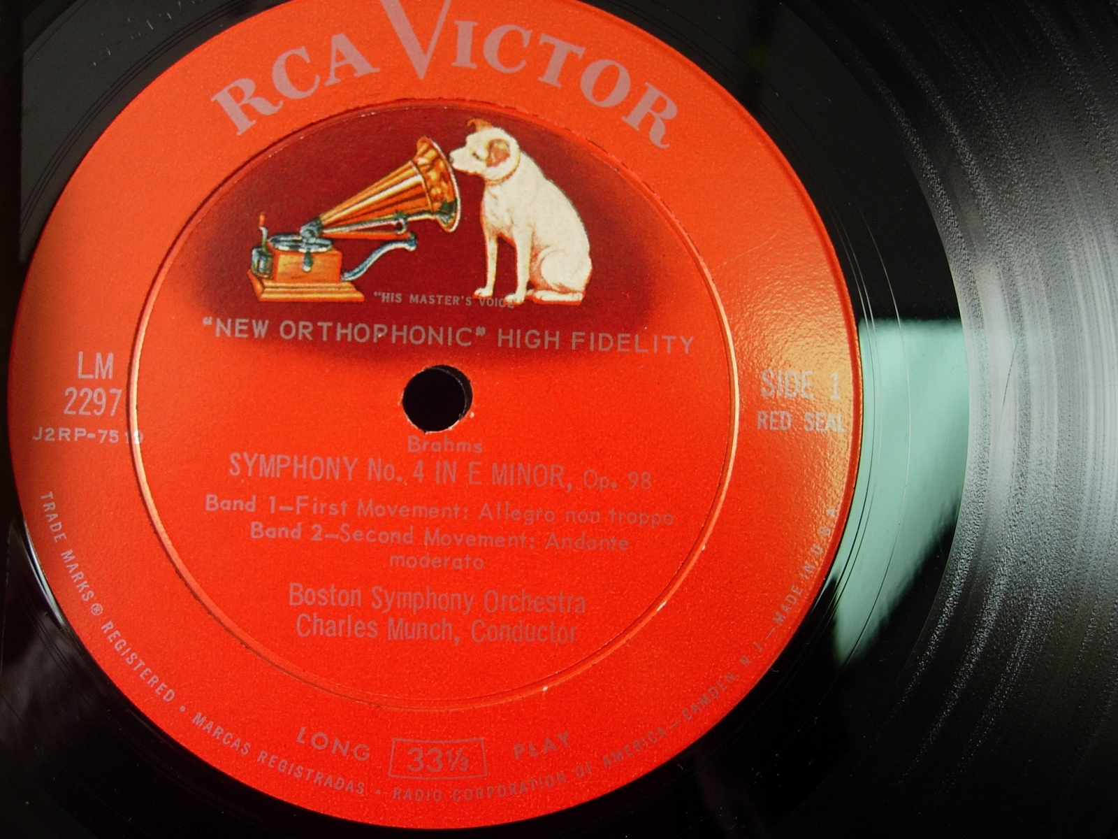 Boston Symphony / Munch - BRAHMS SYMPHONY NO. 4 -RCA Victor Red Seal LM-2297