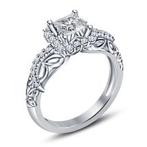 925 Silver 14k White Gold Finish Round Simulated Diamond Bridal Wedding Ring Set image 2