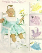 Beautiful Baby crochet 5 frilly dresses vintage crochet patterns sz1,2,3 chevron - $44.18