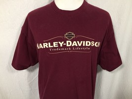 Harley Davidson Motor Cycles Adult XL Maroon T Shirt Gettysburg PA Battl... - $24.74