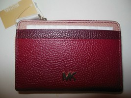 New Michael Kors Money Pieces Zip Around Card Wallet Leather Red Oxblood... - $60.00