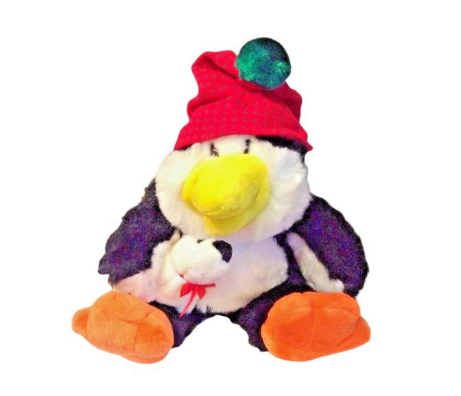 Commonwealth Plush Penguin Stuffed Animal Black White Toy Vintage 1993 Christmas - $23.86