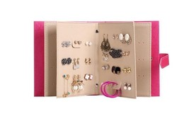 Jewelry Box Creative Women Girls Earrings Storage Leather Book Design Or... - €31,19 EUR