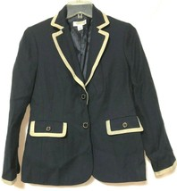 Talbots Womens Navy Blue Tan Cotton Wool Blazer Jacket Size Petites 4P - $8.90