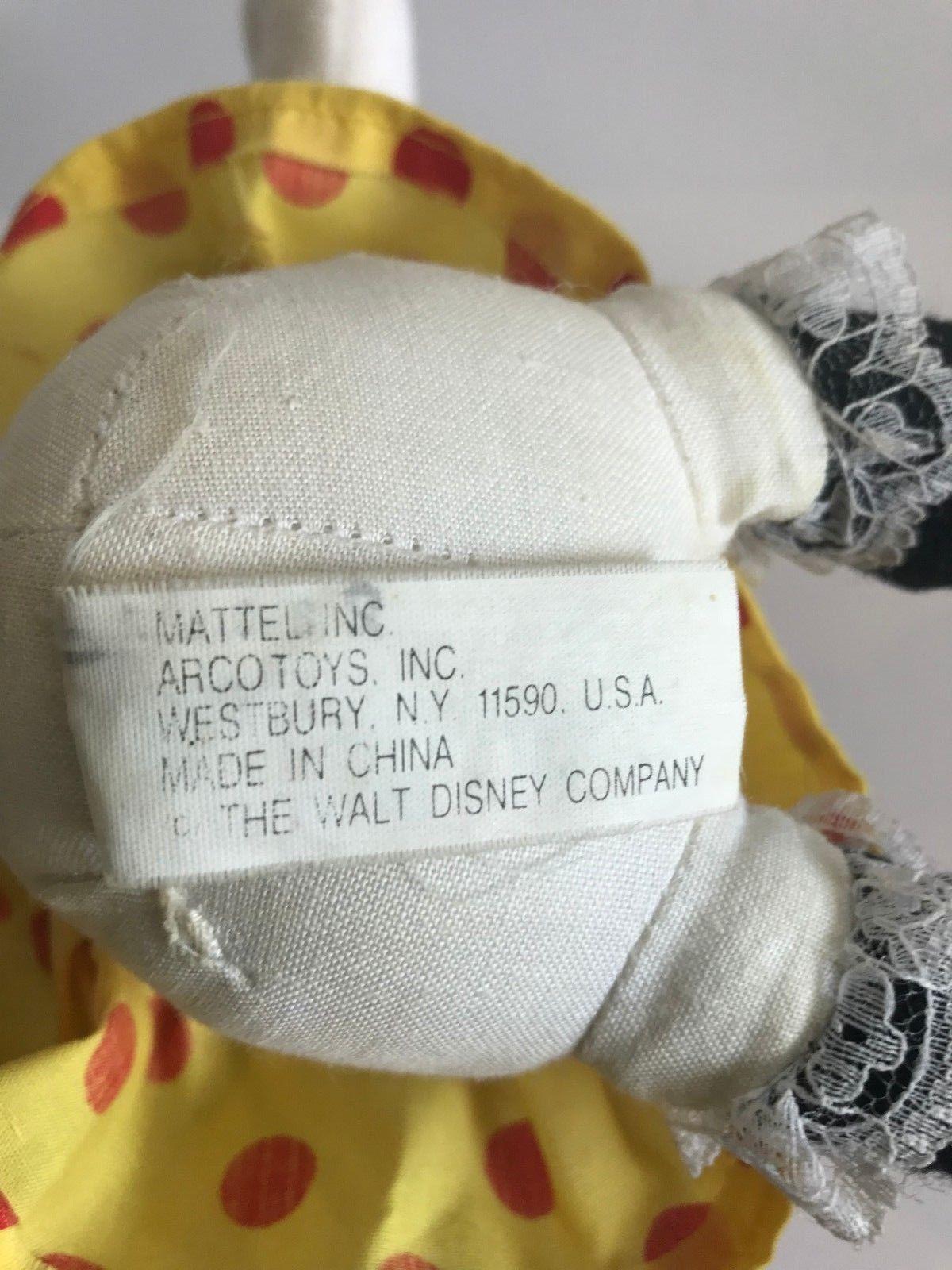 Mattel Arcotoys Minnie Mouse Yellow Red Polka Dot Flower Hat Plush Stuffed Doll image 10