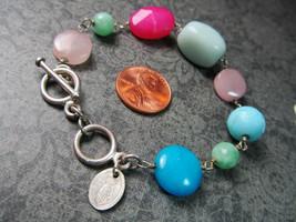 Sterling Silver Toggle Clasp HANDPICKED Melanie Mauldin Stone Bracelet 1... - $26.71