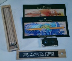 EAST OF INDIA Wooden Colored Pencil Set & 2 Faber-Castell Pencils Eraser... - $18.66