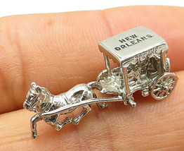 925 Silver - Vintage Sculpted Horse & Carriage New Orleans Pendant - P7349 - $23.84