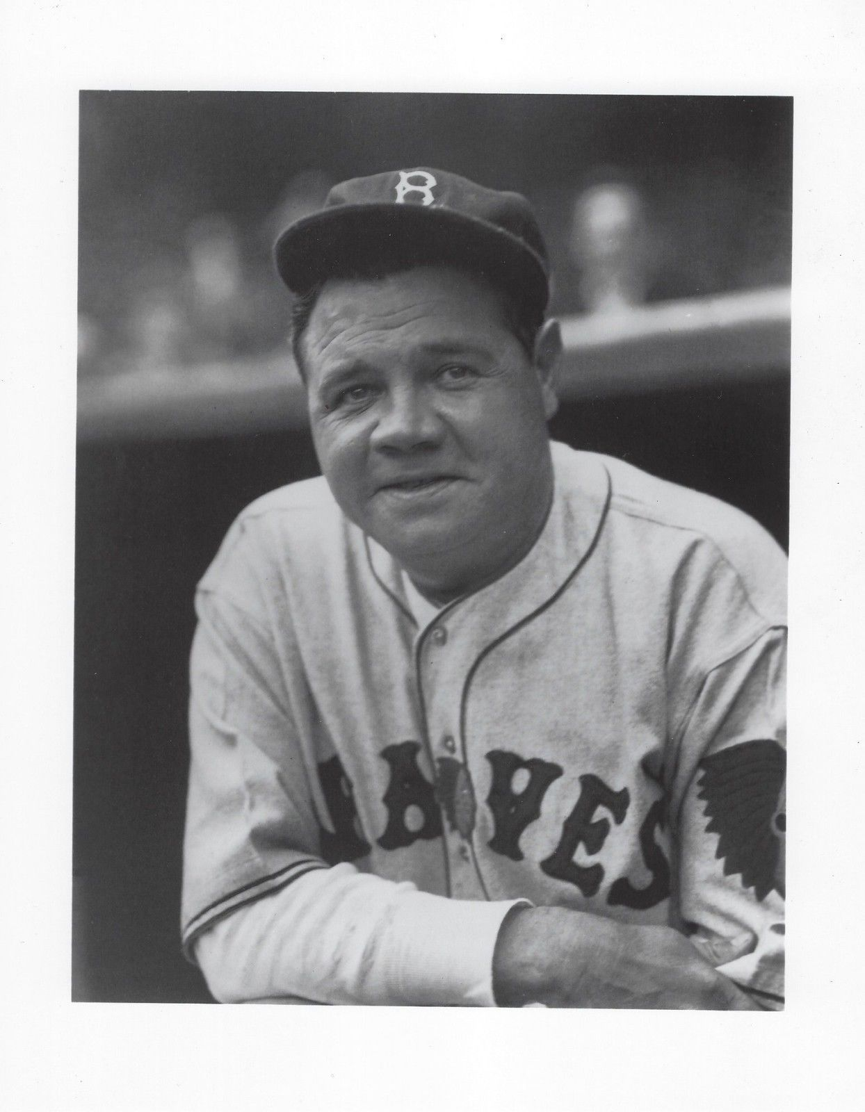 BABE RUTH 8X10 PHOTO BOSTON BRAVES BASEBALL PICTURE CLOSE UP - $3.95