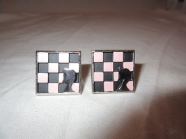 Vintage HICKOK 1960s/70s CUFFLINKS CHESS BOARD KNIGHT Pink Black Checker - $15.99