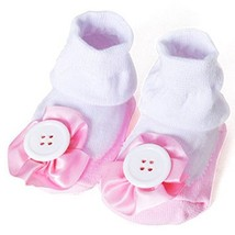 Baby Socks Lovely Cotton Summer Infant Socks 0-12 Months(Pink Button)