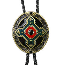 Southwest Totem Mens Bolo Tie Wedding Necklace PU Leather Rope Western C... - $11.29