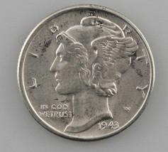 1943-D Silver Mercury Dime 10C (Gem BU Condition) Full Split Bands - $21.80