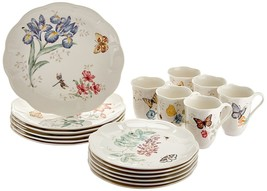 Lenox Dinnerware Set 18 PC Kitchen Dishes Butterfly Meadow Porcelain Din... - $142.55