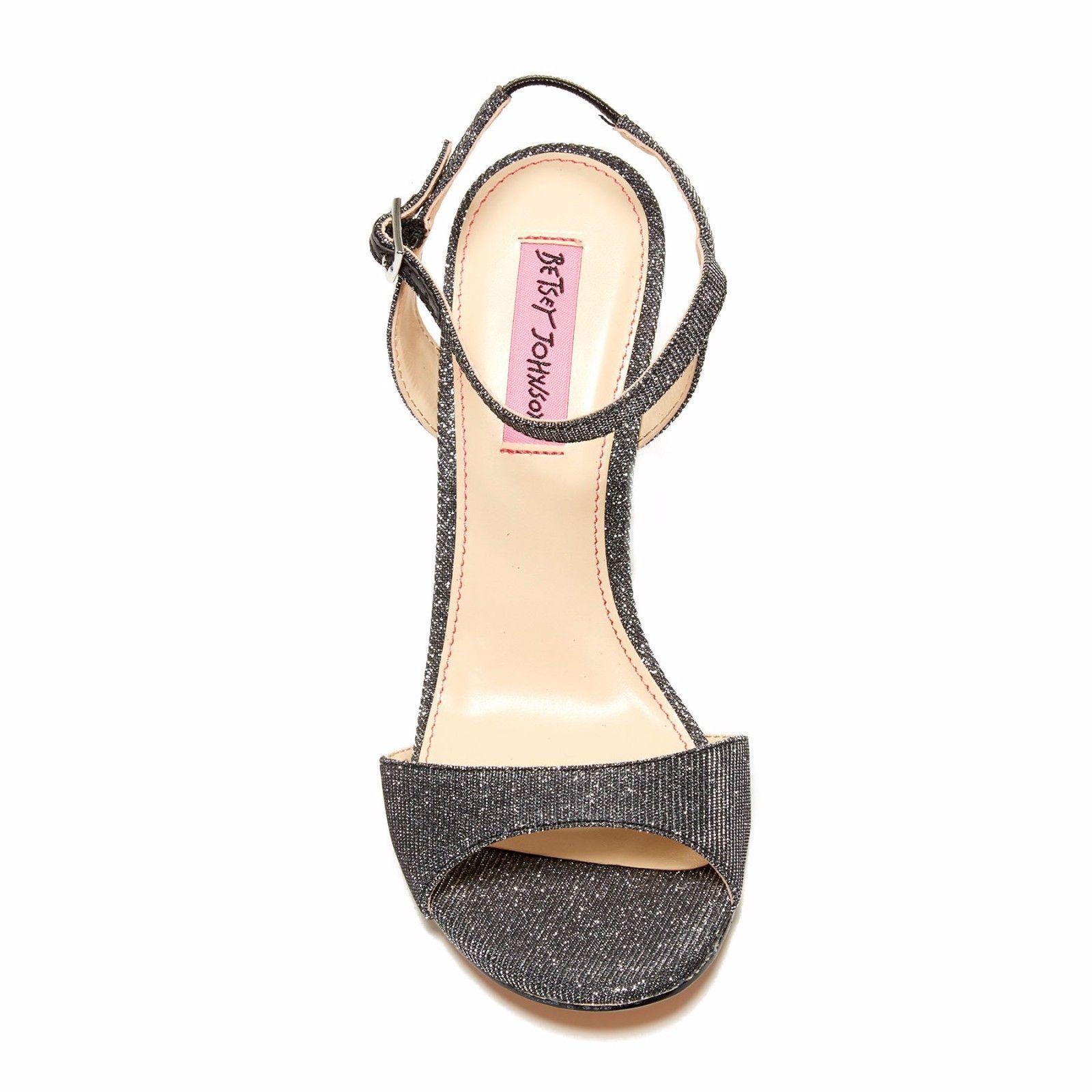 Betsey Johnson Duane Metallic Glitter Fabric Open Toe Platform Wedge Heels 8
