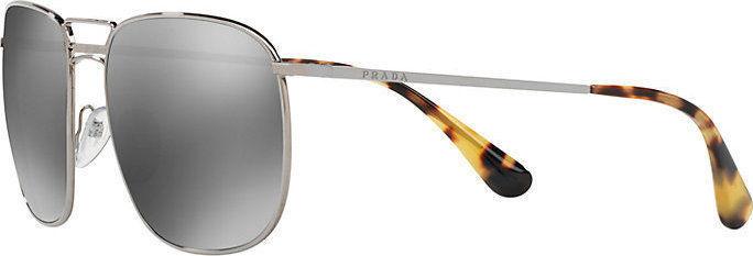 Prada Sunglasses PR52TS 5AV7W1 Silver Grey Square Metal Frame