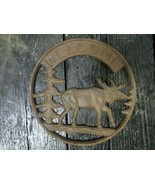 Cast Iron Round Moose Welcome Plaque Sign Rustic Ranch Hunting Camp Decor - $16.82