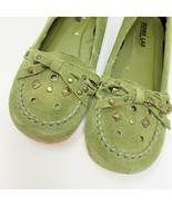 Skechers Soho Lab Womens Leather Flats, Size 5, Green, Studs, Bow - $23.92