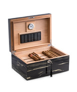 Bey Berk Lacquered Ebony Wood 100 Cigar Humidor with Removable Tray - $199.95
