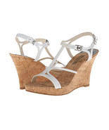 New Womens MICHAEL Michael Kors Sandals White Cork Wedge Shoes 10 Silver... - $51.30