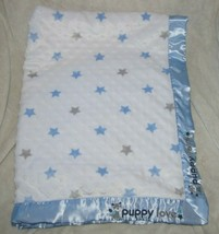 Just Born Blue Gray Grey Stars Puppy Love Minky White Blanket Satin Dog - $46.52