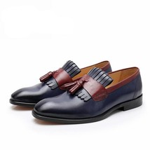 Handmade Men's Blue & Burgundy Tassel Fringe Slip Ons Loafer Leather Shoes image 3
