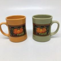 2 Heavy Starbucks 2003 Barista Pumpkin Coffee Cups Mugs Orange & Avocado Green  - $37.39
