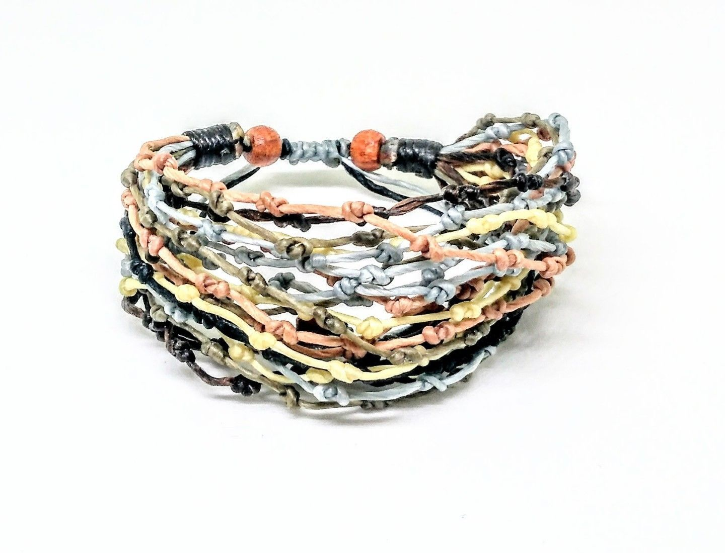 Handcrafted Brown Tones Knot Wax Cotton FAIR TRADE Womens BRACELET Wristband