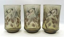Libbey Butterfly & Wheat Set of 3 Juice Glasses Smoky Glass Vintage Butterflies - $10.88
