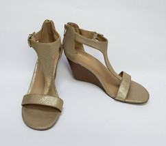 Kenneth Cole Reaction Shoes Heels Sandals Metallic Gold Wedge Zipper Size 10 M - $49.45