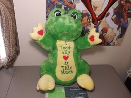 large plush green frog dan dee stuffed toad I Toadally Love you this Much - $49.50
