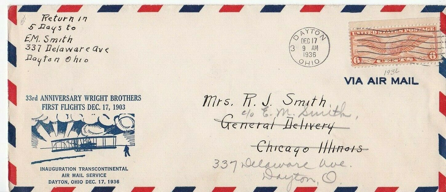33rd ANNIVERSARY OF WRIGHT BROTHERS FIRST FLIGHT FLOWN MAIL DAYTON OH 12/17/1936