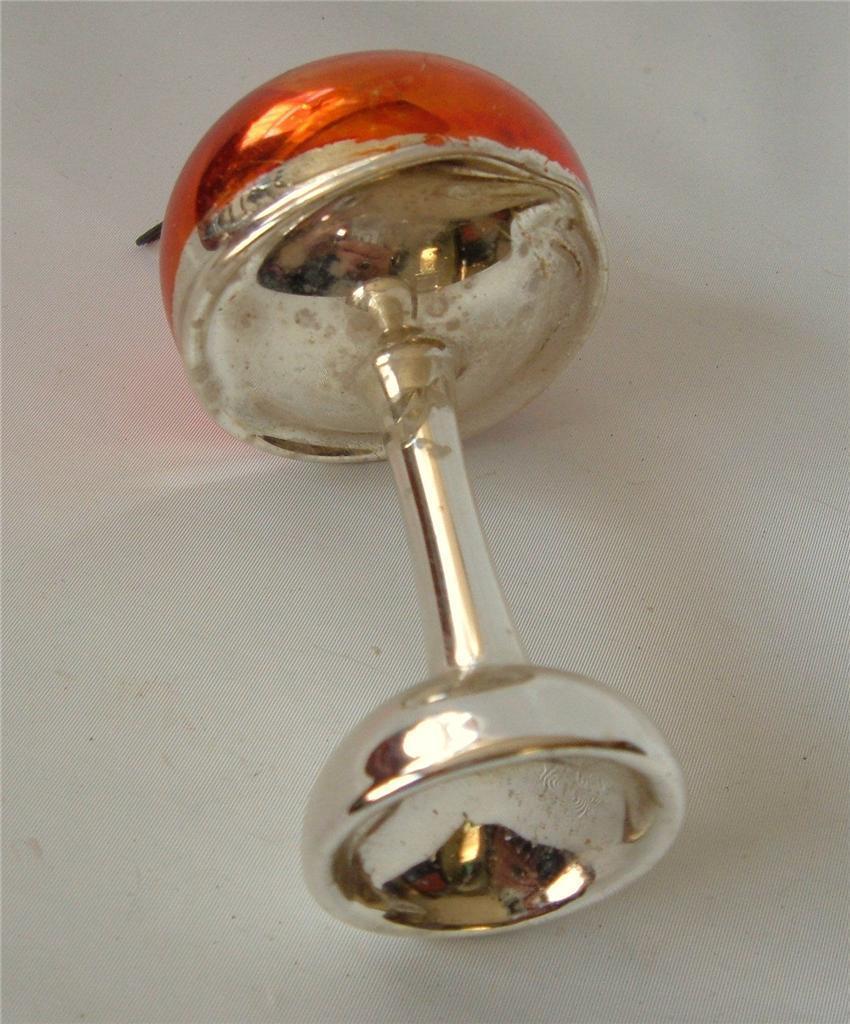"Vintage Xmas  Lamp Ornament Silver Orange 4.5"" Blown Mercury Glass"