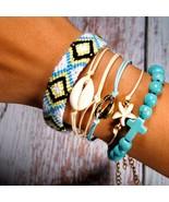 Puka Bracelet 6PCs Set Charm Boho Weave Beads Bracelet - $9.99