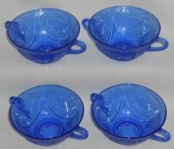 1930s-40s Hazel Atlas ROYAL LACE PATTERN Cobalt Blue CREAM SOUP BOWLS - $79.19