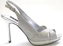 Women's Shoes Nina FELICE Dress Sandals Slingback Crisscross Heels Iridescent - $40.49