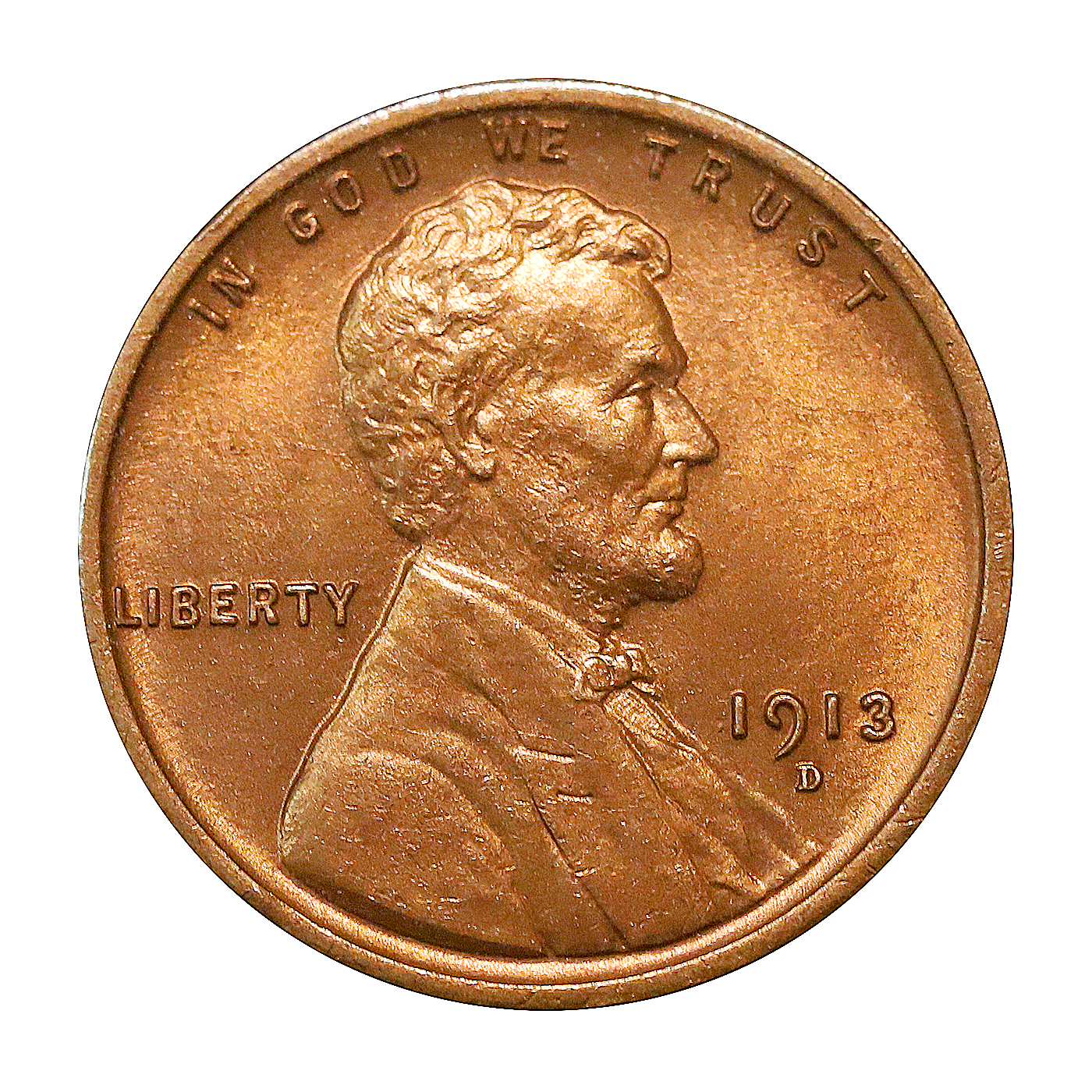1913 D Lincoln Wheat Cent - Red Gem BU / MS RD / UNC