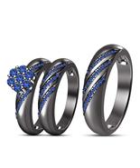 Mens & Womens Wedding Anniversary Trio Ring Set 14k Black Finish 925 Rea... - $164.99